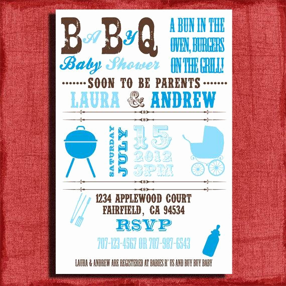 Baby Shower Bbq Invitation Best Of Baby Q Bbq Baby Shower 4x6 or 5x7 Invitation Diy