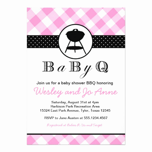 "Baby Shower Bbq Invitation Best Of Babyq Bbq Baby Shower Invitation Couples Girl Pink 5"" X 7"