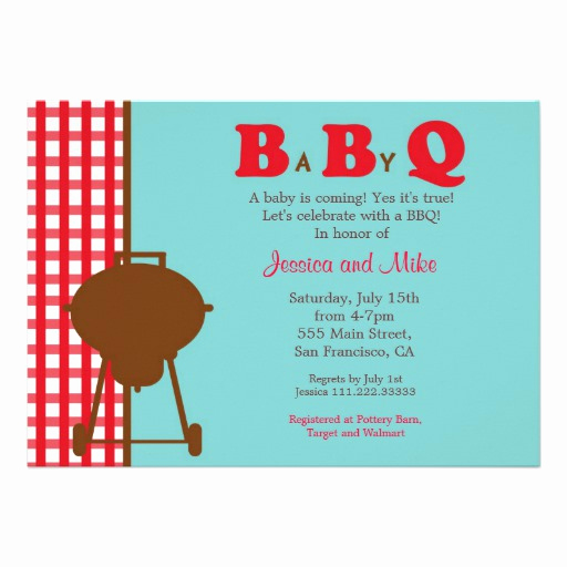 "Baby Shower Bbq Invitation Lovely Bbq Baby Shower Invitation 5"" X 7"" Invitation Card"