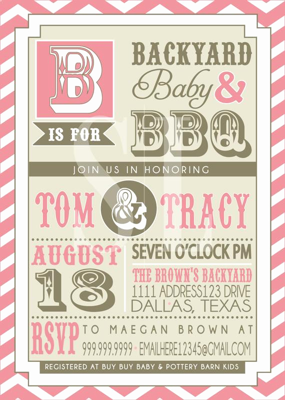 Baby Shower Bbq Invitation Luxury Couples Bbq Baby Shower Invitation Pink Backyard Bbq