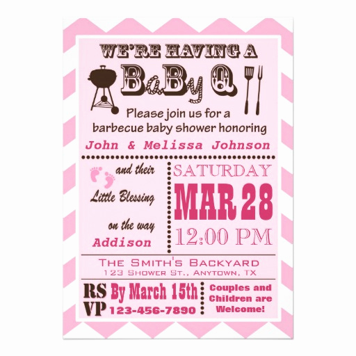 Baby Shower Bbq Invitation Luxury Pink Barbecue Babyq Baby Shower 5x7 Paper Invitation Card