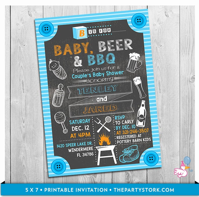 Baby Shower Bbq Invitation Unique Baby Beer & Bbq Baby Shower Invitation Printable Chalkboard