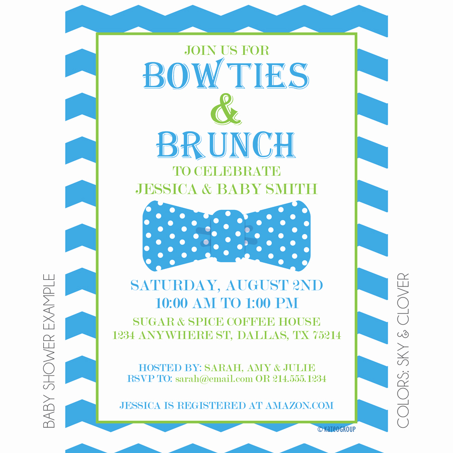 Baby Shower Brunch Invitation Awesome Bowties and Brunch Invitation
