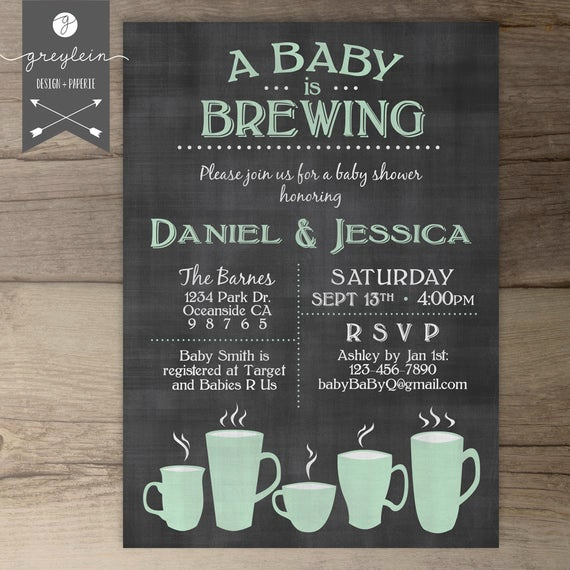 Baby Shower Brunch Invitation Beautiful Baby is Brewing Coffee Cups Baby Shower Brunch Invitation