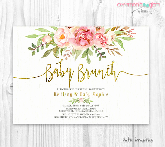 Baby Shower Brunch Invitation Beautiful Floral Baby Shower Invitation Brunch for Baby Invitation