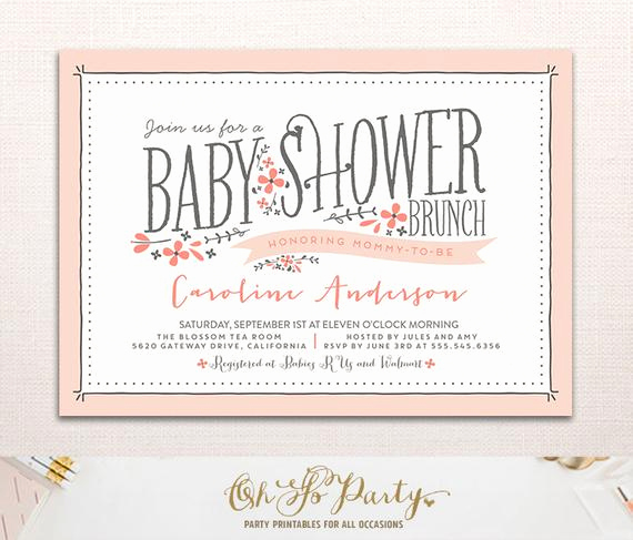 Baby Shower Brunch Invitation Elegant Baby Flora Baby Shower Invitation Floral Baby Shower by