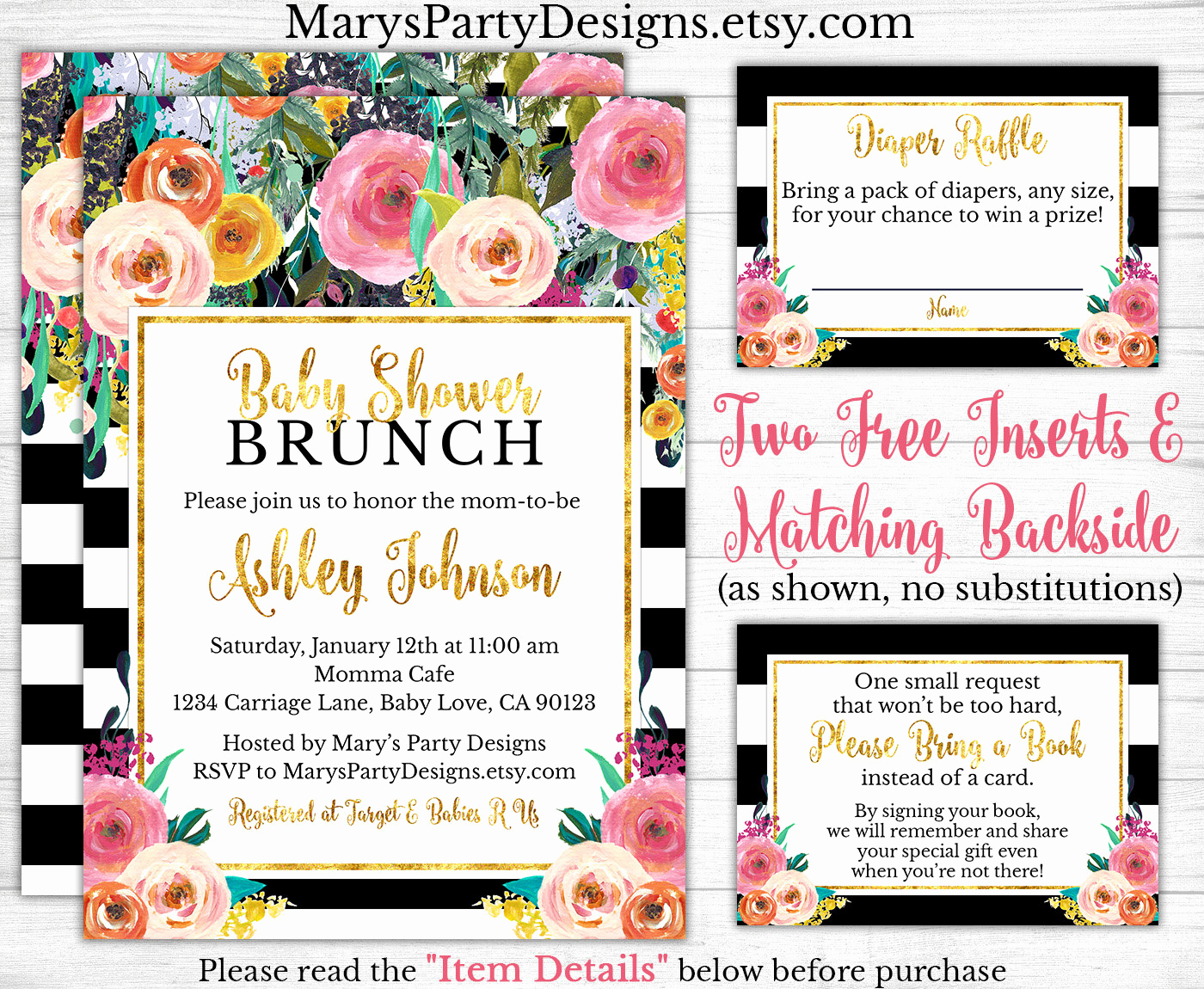 Baby Shower Brunch Invitation Elegant Brunch Baby Shower Invitation Watercolor Flowers Floral Pink