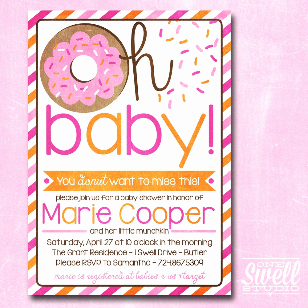 Baby Shower Brunch Invitation Fresh Donut Invitation Doughnut Breakfast Brunch Girl Pink orange