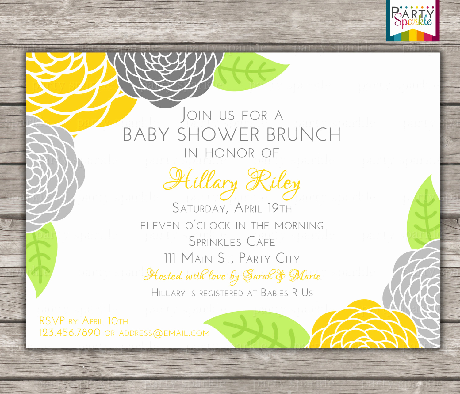 Baby Shower Brunch Invitation Fresh Printable Floral Brunch Baby Shower Invitation Uni Yellow