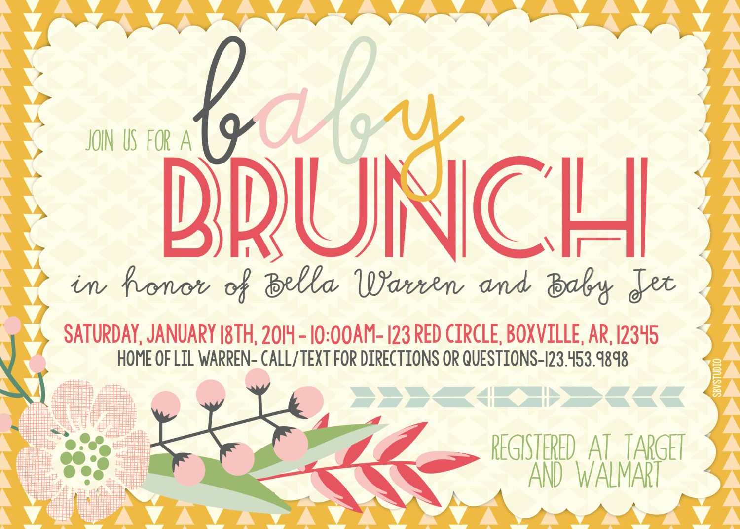 Baby Shower Brunch Invitation Lovely Baby Shower Brunch In Triangles Floral Invitation
