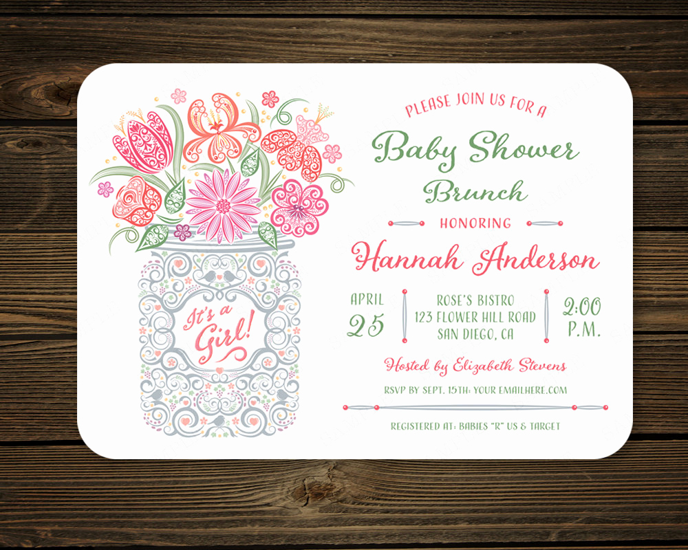 Baby Shower Brunch Invitation Lovely Mason Jar Baby Shower Brunch Party Invitation by