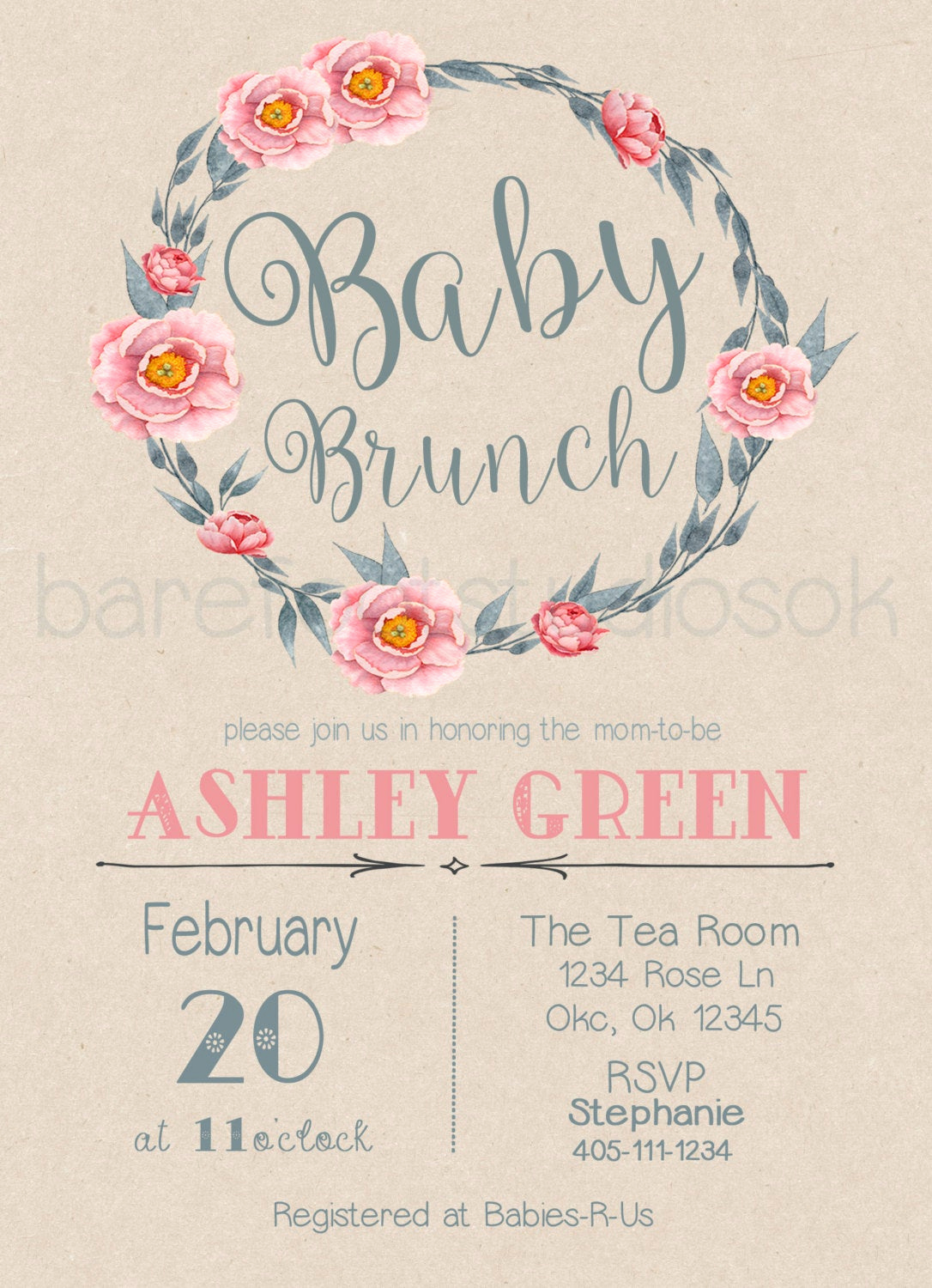 Baby Shower Brunch Invitation New Baby Brunch Invitation Baby Shower Invitation Brunch
