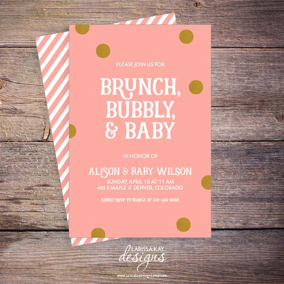 Baby Shower Brunch Invitation New Brunch Bubbly & Baby Shower Invitation Pink and Gold Shower