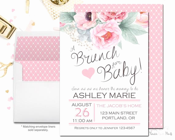 Baby Shower Brunch Invitation New Floral Baby Shower Invitation Brunch for Baby Invitation