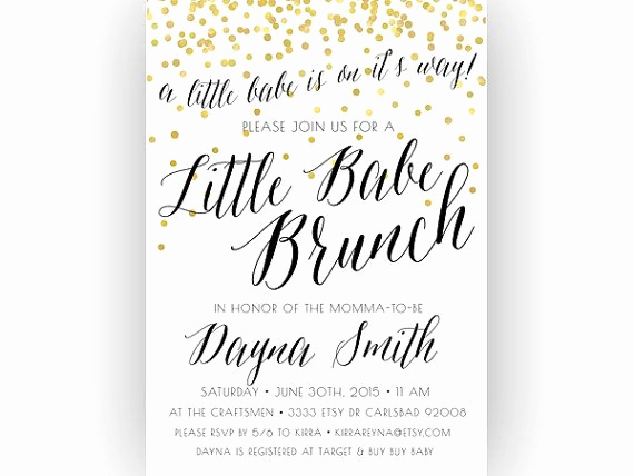 Baby Shower Brunch Invitation Unique Baby Shower Brunch Invitation Little Babe Unique by
