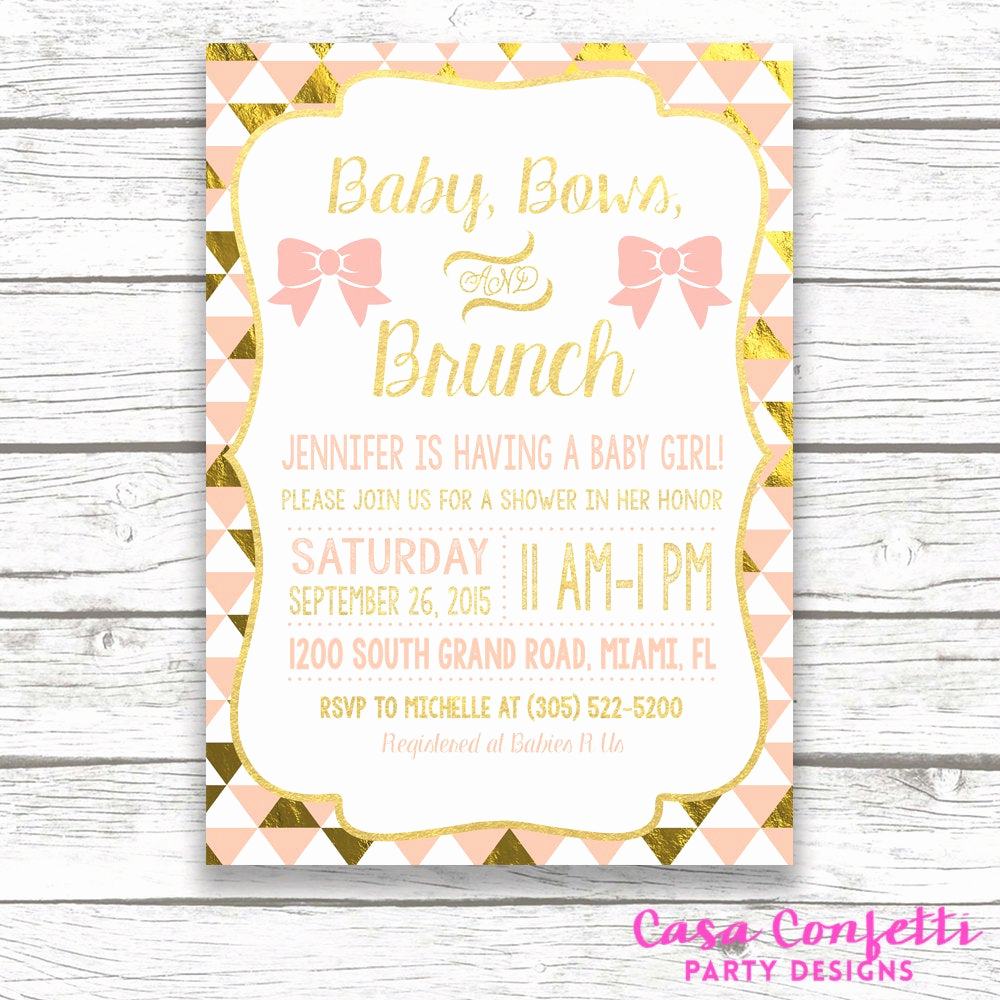 Baby Shower Brunch Invitation Wording Awesome Baby Shower Brunch Invitation Baby Bows and Brunch Peach and