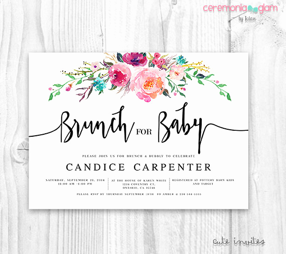 Baby Shower Brunch Invitation Wording Awesome Baby Shower Invitation Flora Brunch for Baby Invitation