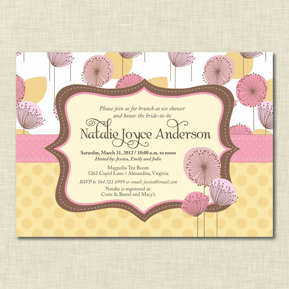 Baby Shower Brunch Invitation Wording Awesome Items Similar to Pink Floral Bridal Shower Invitation