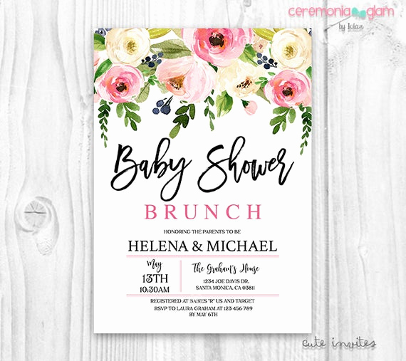 Baby Shower Brunch Invitation Wording Beautiful Floral Baby Shower Invitation Brunch for Baby Invitation