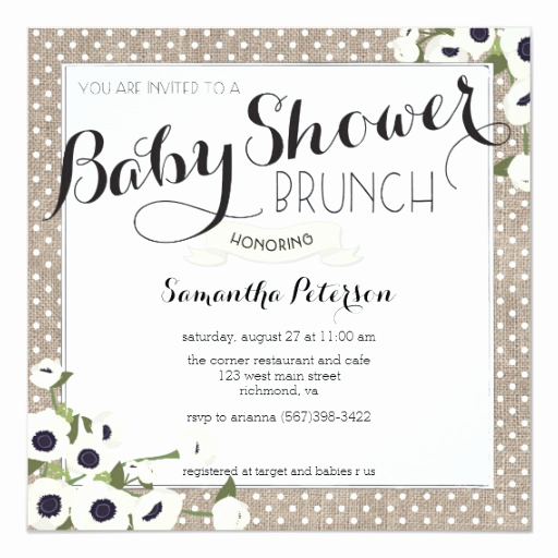 Baby Shower Brunch Invitation Wording Best Of Burlap Flowers Baby Shower Brunch Invitation