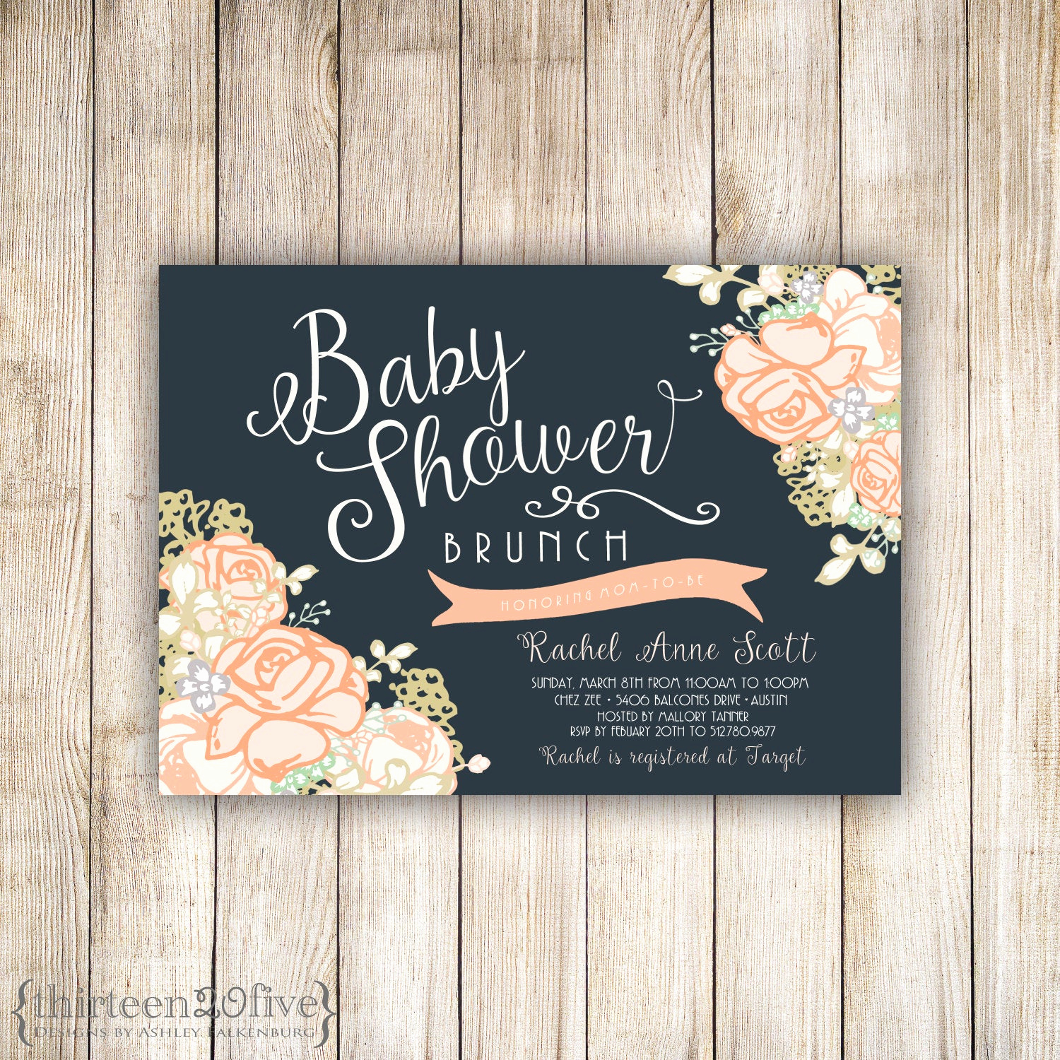 Baby Shower Brunch Invitation Wording Fresh Baby Shower Brunch Peachy Rose Custom Invitation 007
