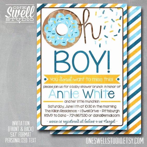 Baby Shower Brunch Invitation Wording Inspirational Oh Boy Donut Doughnut Breakfast Brunch Baby by