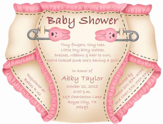Baby Shower Diaper Invitation Template Unique Baby Shower Diaper Invitations or Thank You Notes