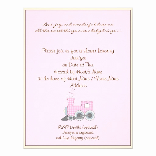 ivory border pink train baby shower invitation