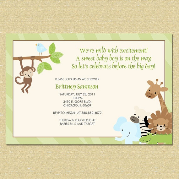 Baby Shower Invitation Border Beautiful Safari Animal Print Border Baby Shower by Littlemunchkinprints