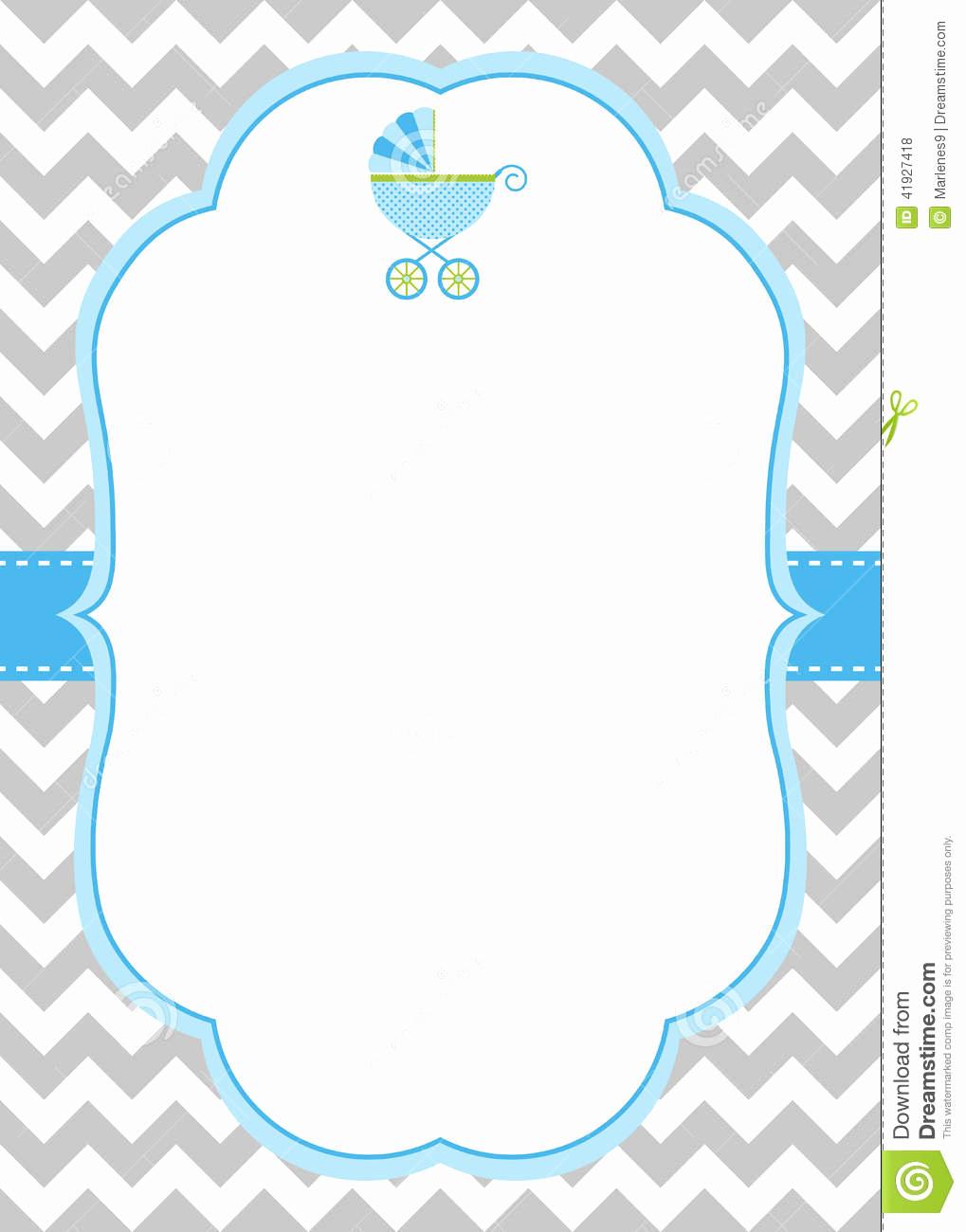 Baby Shower Invitation Border Elegant Baby Boy Invitation Card Stock Vector Illustration Of