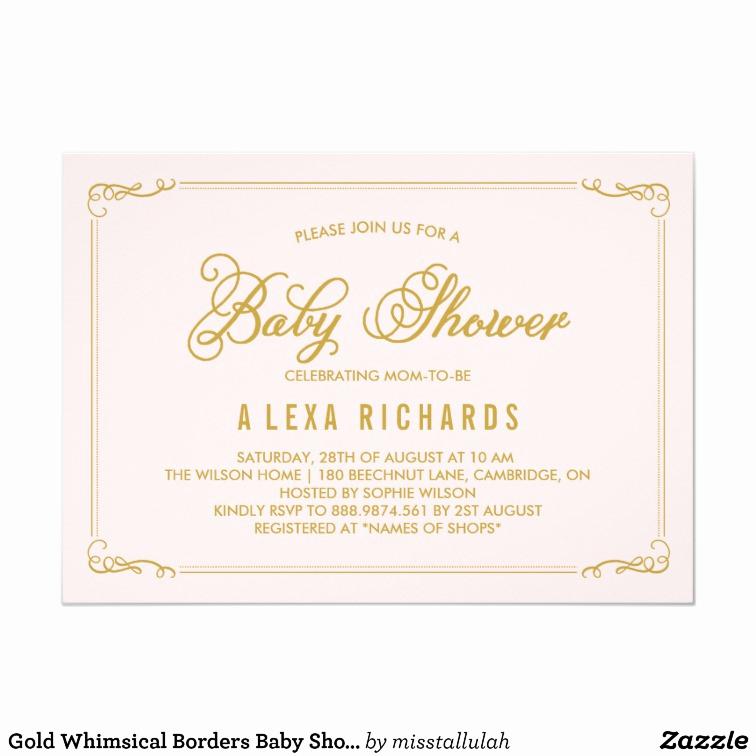 Baby Shower Invitation Border Inspirational Gold Whimsical Borders Baby Shower Invitation