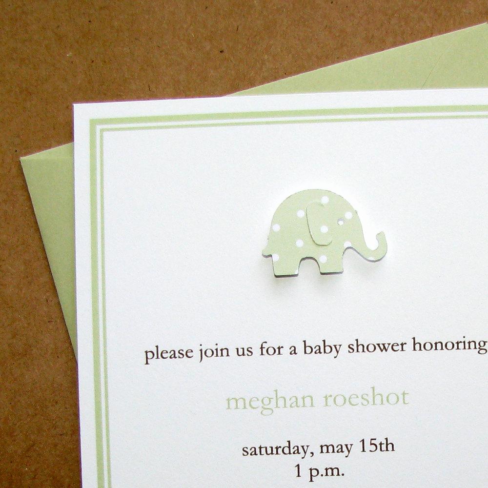 Baby Shower Invitation Borders Elegant Celery Elephant Double Border Baby Shower Invitations Neutral
