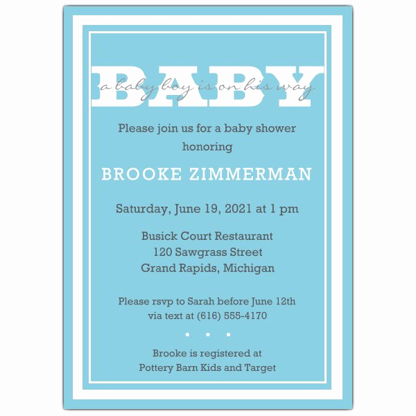Simple Border Boy Baby Shower Invitations p 605 57 PS474BABY