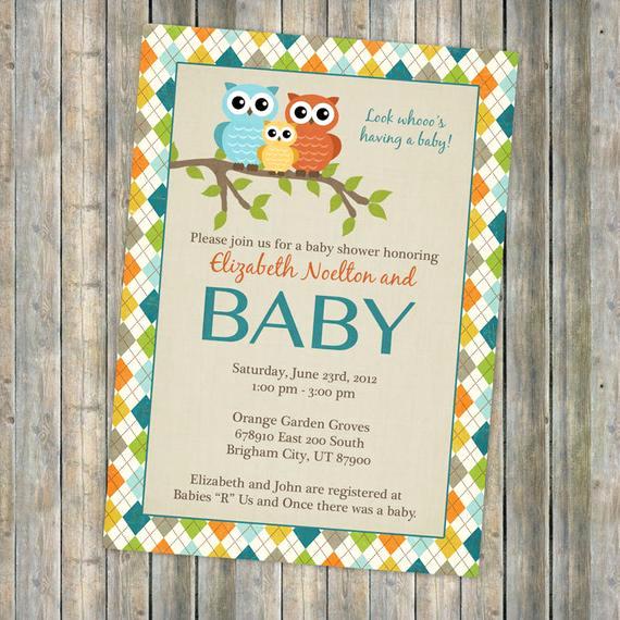 Baby Shower Invitation Borders Lovely Baby Shower Invitations with Owl and Argyle Border Invitation