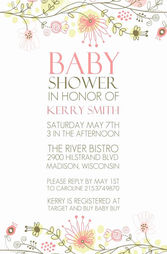 Baby Shower Invitation Borders Lovely Spring Floral Border Baby Shower Invitation by Purpletrail