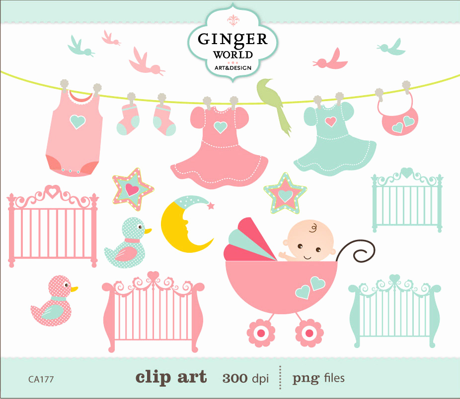 Baby Shower Invitation Clip Art Awesome Pink Baby Shower Birds Clip Art Whimsical Digital by