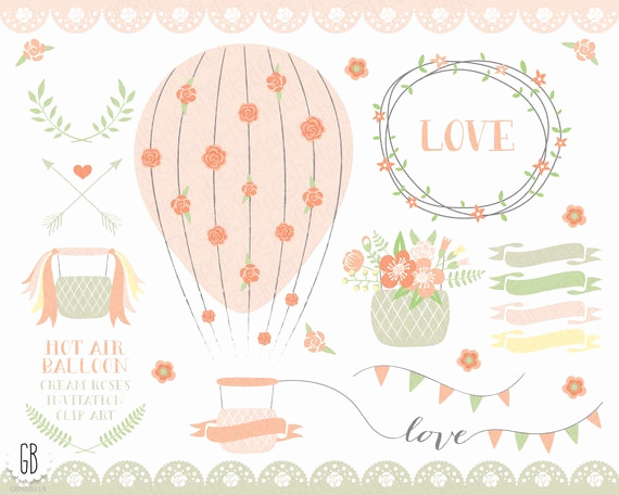 Baby Shower Invitation Clip Art Elegant Hot Air Balloon Flower Basket Floral Wreaths Ribbons