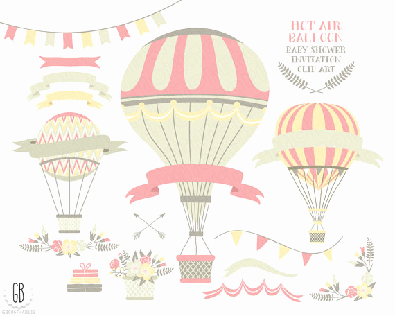 Baby Shower Invitation Clip Art Luxury Hot Air Balloon Flower Basket Floral Wreaths Ribbons