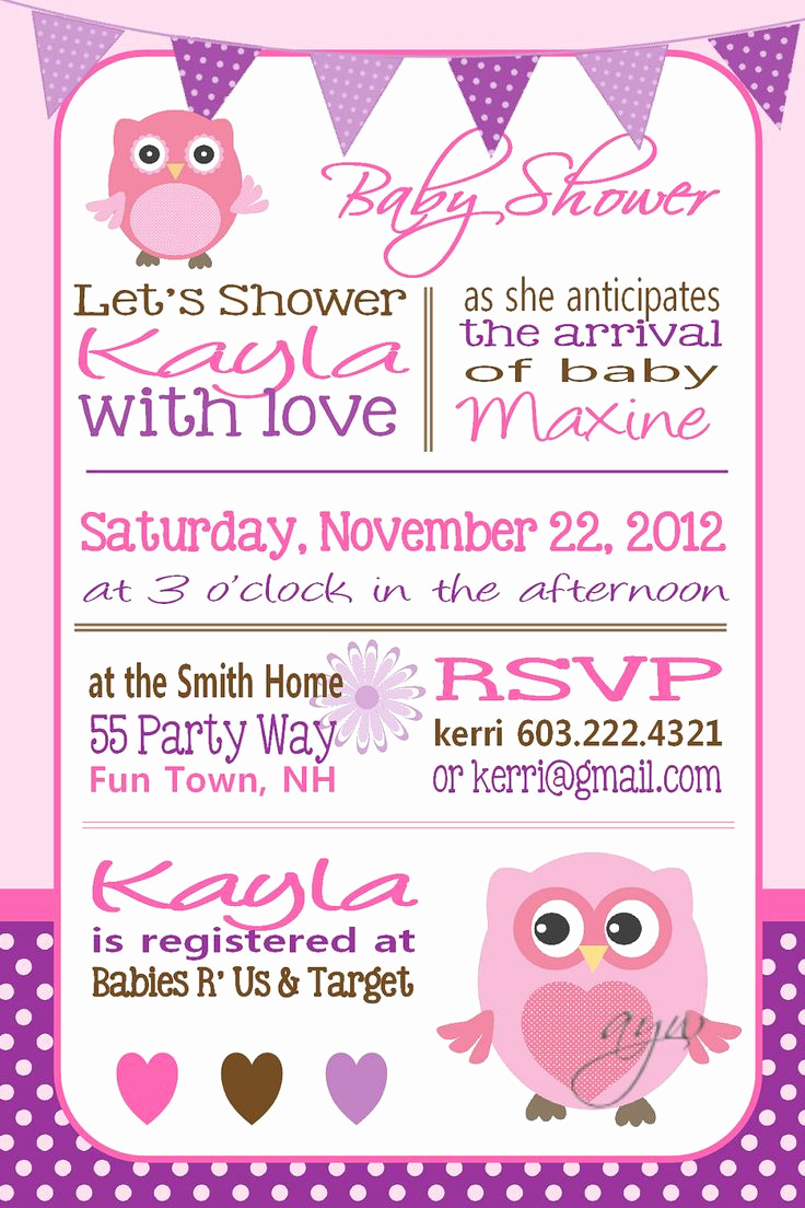 Baby Shower Invitation Clipart Best Of Owl Baby Shower Invitation Owl Bunting Pink Green Purple