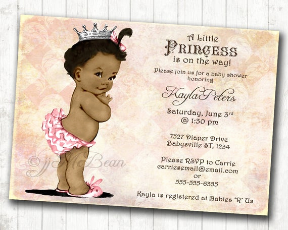 Baby Shower Invitation Clipart Luxury African American Baby Shower Invitation for Girl Princess