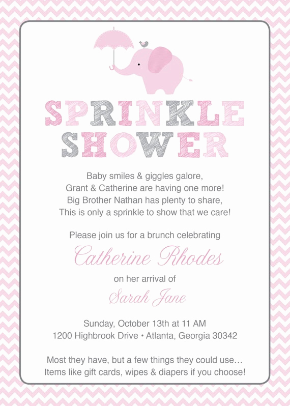 Baby Shower Invitation Example Beautiful Pink Elephant Baby Sprinkle Shower Invitation Pink Grey Girl