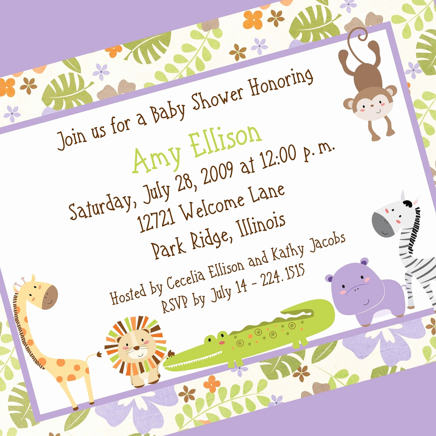 Baby Shower Invitation Example Best Of Floral Jungle Baby Shower Invitation Printable by