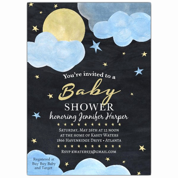 Baby Shower Invitation Example Elegant Night Sky Baby Shower Invitations