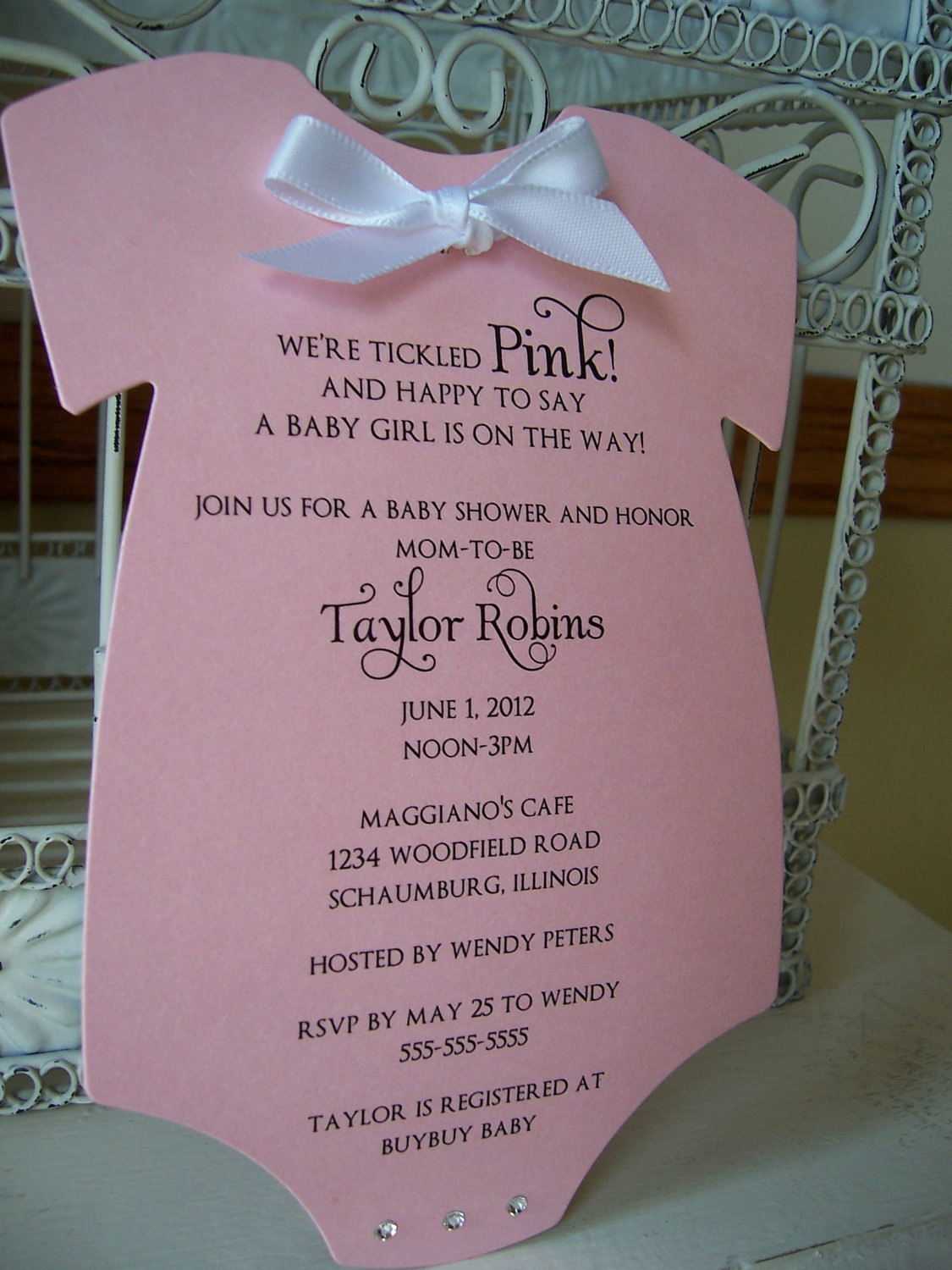 Baby Shower Invitation Example Fresh Think Pink Baby Shower Invitation Custom order for Shiloh