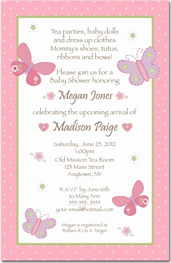 Baby Shower Invitation Example Lovely Baby Shower Baby Shower Girl Invitation Wording to Help