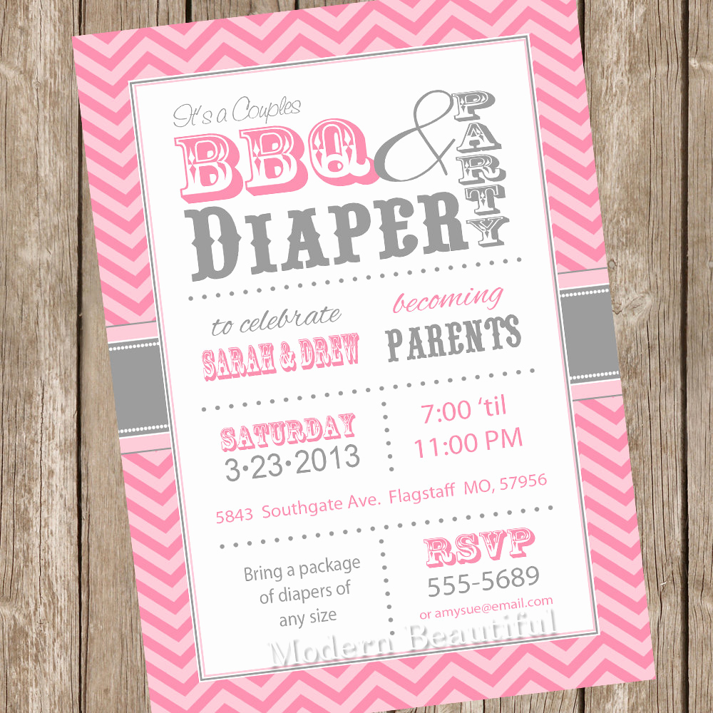 Baby Shower Invitation Example New Chevron Couples Bbq and Diaper Baby Shower Invitation