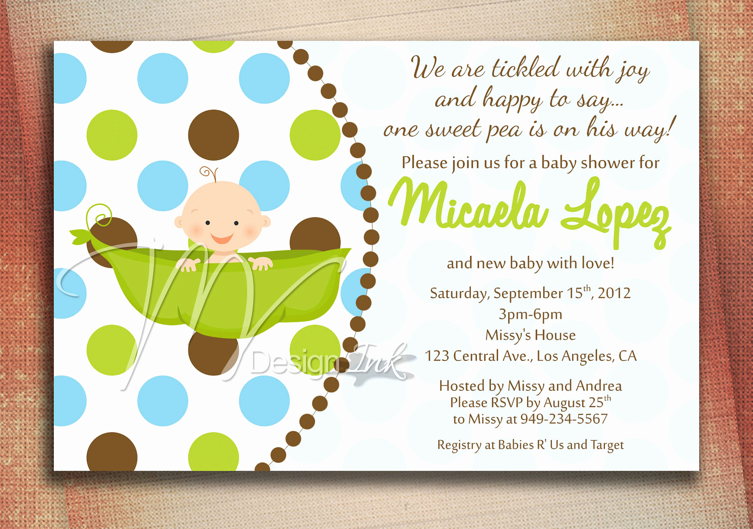 Baby Shower Invitation Example New Pea In A Pod Baby Shower Invitation Baby In A Pod by