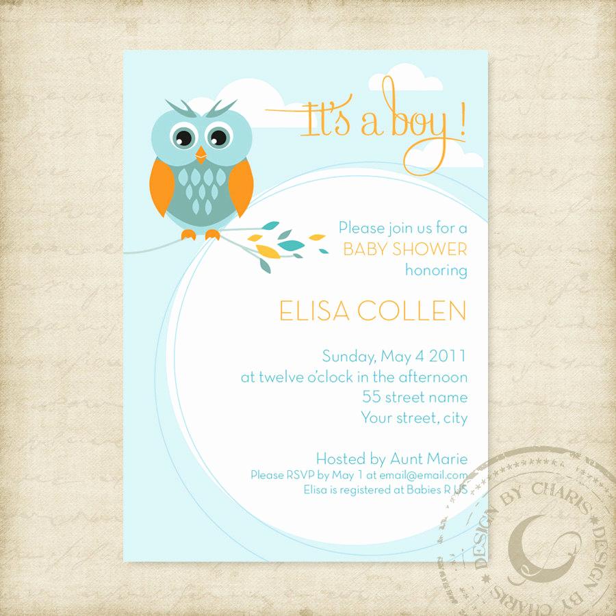 Baby Shower Invitation Examples Elegant Baby Shower Invitation Template Owl theme Boy or Girl