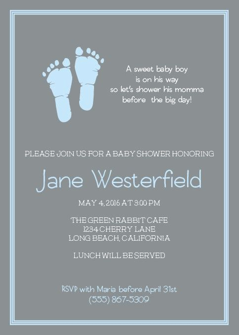 Baby Shower Invitation Font Awesome Little Boy S Footprints Shower Invitation
