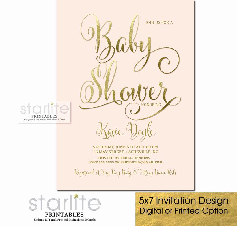 Baby Shower Invitation Font Best Of Baby Shower Invitation Script Blush Pink Gold Foil